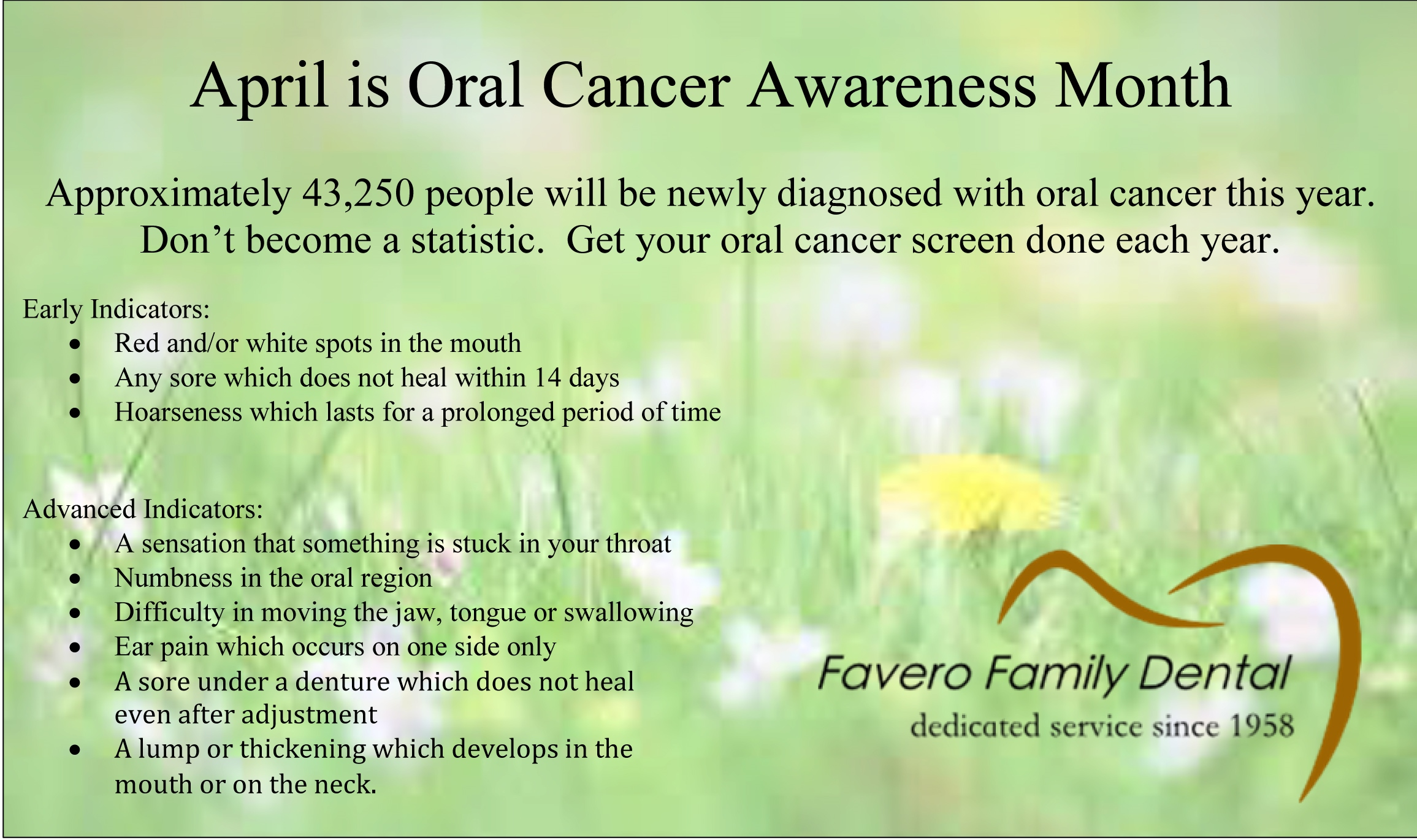essay about prevention of cancer Oral cancer essaysapproximately 30000 americans will be diagnosed with oral  cancer every year and of those 30000 people nearly half of them will die within.
