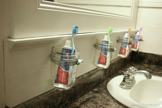 Mason Jar Toothbrush Storage